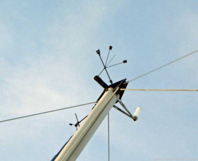 Beneteau First 375 wind direction and speed indicators at top of mast