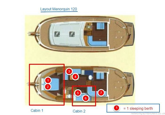 Menorquin 120 interior layout