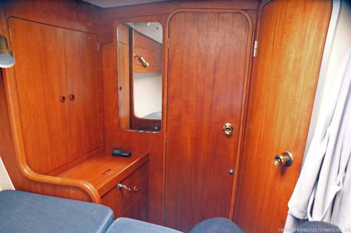 Moody Eclipse 33 Forward cabin with high quality joinery.