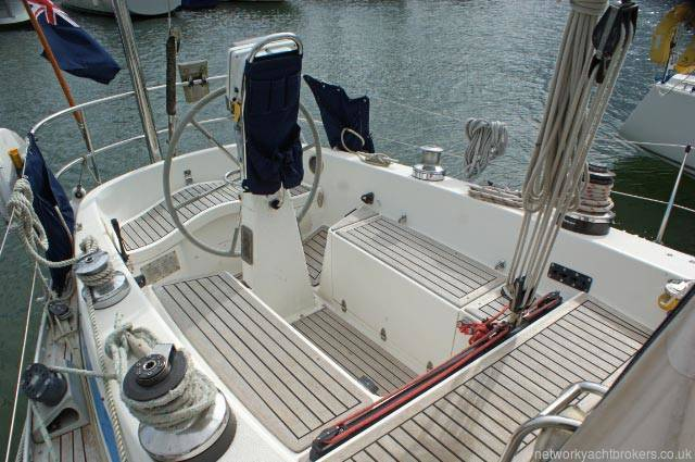 Swan 38 cockpit with wheel steering