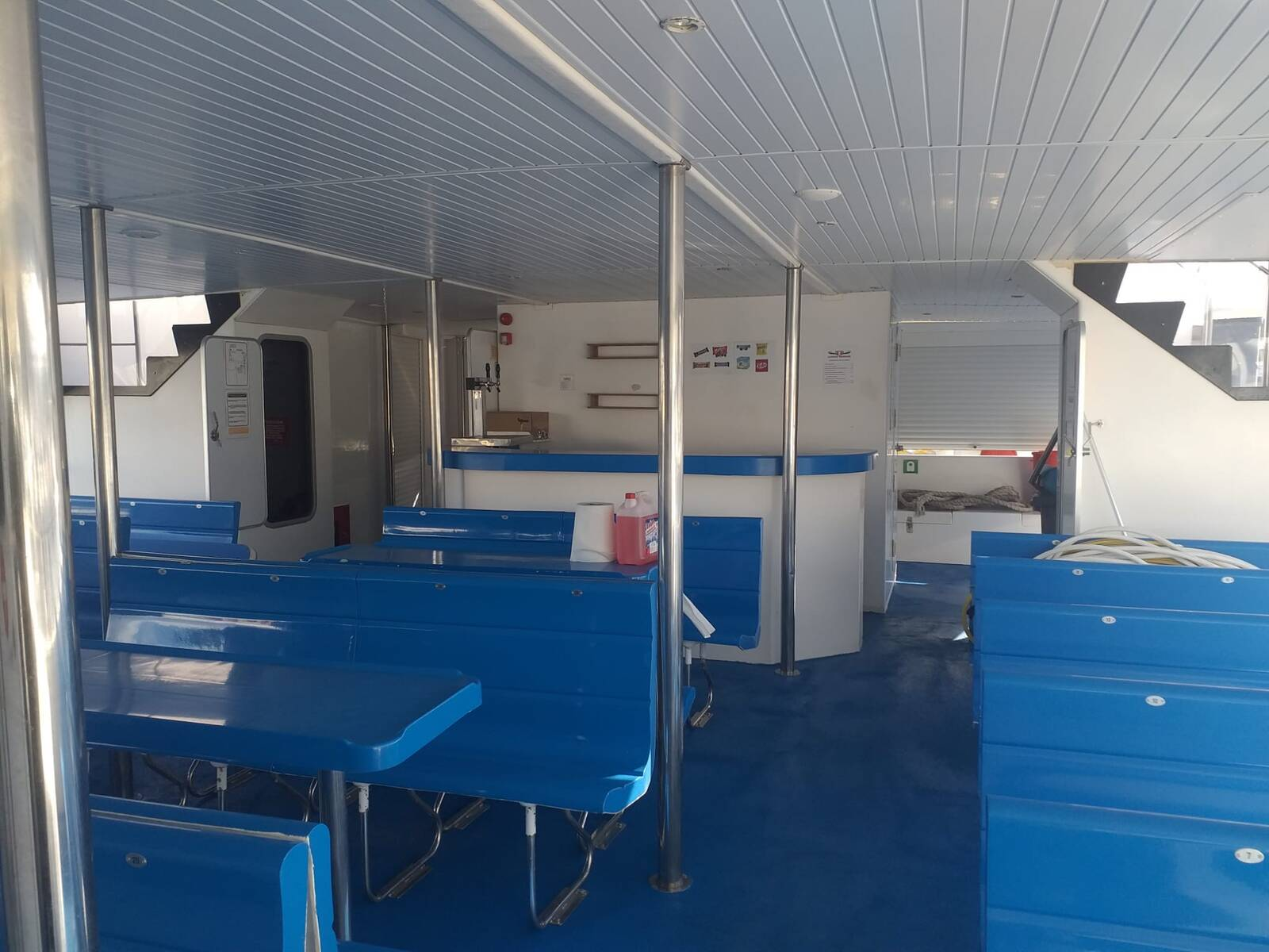 inside Commercial Catamaran Glass Bottom Boat for sale